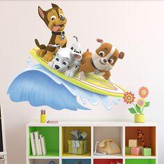 Vinilos Infantiles: Patrulla Canina - Chase, Marshall y Rubble surfean. Habitación infantil #Patrulla #Canina #infantil #deco #decoración #vinilo #pared #Chase #Marshall #Rubble #TeleAdhesivo