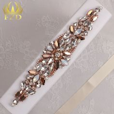 High Quality Luxury Rose Gold White Opal Beaded Crystal Rhinestone Applique  for Wedding Dresses Bridal Sash from Reliable bead blossom suppliers on ... f4191c737fc