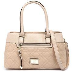 Kardashian Kollection 3345 Camel Handbag ($73) ❤ liked on Polyvore featuring bags, handbags, shoulder bags, kardashian kollection handbags, quilted purse, top handle handbags, quilted shoulder bag and kardashian kollection