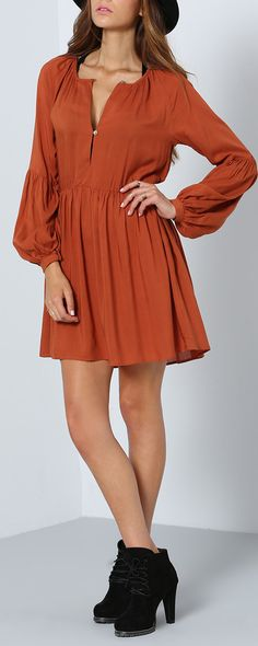 This fall is doomed to get one Brown Long Sleeve Pleated Dress! Vintage style make you a fashion street as soon as you put it on! Find more favorite shift dress at SHEIN.com.