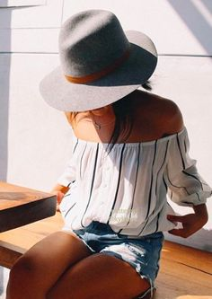 Womens Fashion | Summer Style inspiration | http://www.nastygal.com/clothes-tops/faithfull-shutterbabe-top http://www.asos.com/ASOS/ASOS-Fedora-Hat-In-Suede-Look/Prod/pgeproduct.aspx?iid=4968634&cid=6449&sh=0&pge=0&pgesize=-1&sort=-1&clr=Tan&totalstyles=183&gridsize=4 http://www.asos.com/Catarzi/Catarzi-Wide-Brim-Fedora-in-Camel/Prod/pgeproduct.aspx?iid=5037348&cid=6449&sh=0&pge=0&pgesize=-1&sort=-1&clr=Camel&totalstyles=183&gridsize=4 http://www.nastygal.com/clothes-bottoms-