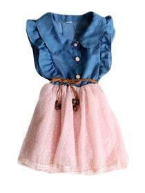 Ruffles Patchwork Denim Girls Dress