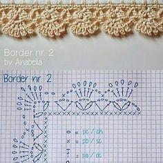 crochelinhasagulhas: Pontos em crochê Crochet Border Patterns, Crochet Snowflake Pattern, Crochet Lace Edging, Crochet Diagram, Crochet Doilies, Knitting Patterns, Crochet Flowers, Filet Crochet, Crochet Cord