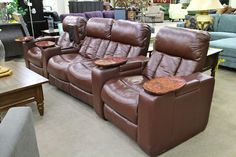 Klaussner Brown Leather Theater Seating - Colleen's Classic Consignment, Las Vegas, NV - www.cccfurnishings.com