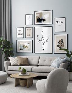 Picture Wall Living Room, Living Room Decor, Inspiration Wand, Cactus Wall Art, Home Decor Furniture, Wall Prints, Printable Wall Art, Line Art, Wall Art Decor
