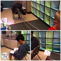 The Message Center:  an INGENIOUS way to motivate kids to write to each other!  Kids must be quiet, but can pass as many notes as they like with the clothesline attached to their chairs.  Too funny!