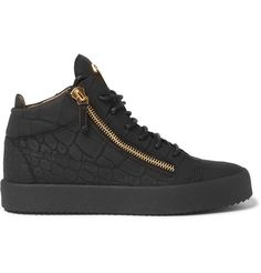 GIUSEPPE ZANOTTI Rubberised Croc-Effect Leather High-Top Sneakers. #giuseppezanotti #shoes #sneakers