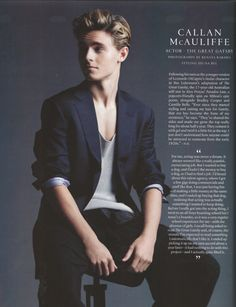 Callan Mcauliffe ♥ He would be the perfect guy for patch except for the hair but other than that hes perfect Beautiful Boys, Pretty Boys, Gorgeous Men, Beautiful People, Grey's Anatomy, Callan Mcauliffe, Lorien Legacies, Maxon Schreave, I Am Number Four