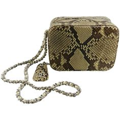 Pre-owned Chanel Vintage 2000 Fall Runway Python Box Bag Wristlet ($3,499) ❤ liked on Polyvore featuring bags, handbags, clutches, handbags and purses, novelty bags, snakeskin purse, vintage snakeskin purse, brown handbags, chanel clutches en wristlet clutches