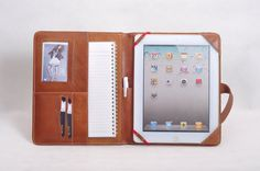 Simple top-level genuine leather portfolio & iPad case with belt for iPad1,iPad2,iPad3 and Tablet