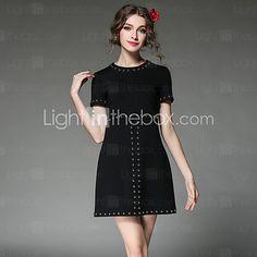 mulheres aofuli roupas vestido de talão de moda vintage tamanho grande vestido de manga curta magro sólida de 2016 por R$506.93