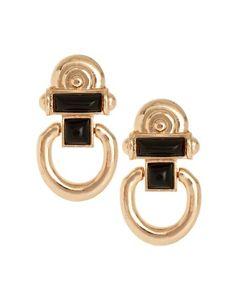 River Island Vintage Style Gold And Black Door Knocker Earrings