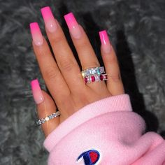 In look for some nail designs and some ideas for your nails? Listed here is our list of must-try coffin acrylic nails for fashionable women. Pink Ombre Nails, Pink Acrylic Nails, Pink Tip Nails, Bright Pink Nails, Acrylic Nails For Summer Bright, Acrylic Nails With Design, Summer Nails, Colourful Acrylic Nails, Almond Nails Pink
