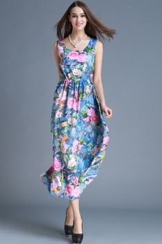 LUCLUC Blue Floral Printed Scoop Maxi Dress