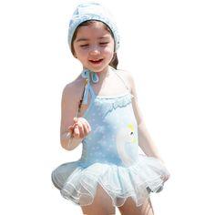 Princess Style Girls Swimsuit Kids Lovely One-piece Swimwear-Swan/Blue