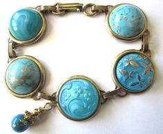 Antique glass button bracelet