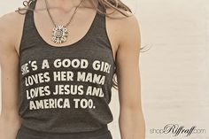 "FOR THE GRAPHIC GIRL Everyone loved it as a tee, and now it's back... we love our She's A Good Girl tank, featuring lyrics from ""Free Fallin."" It's both comfortable and trendy. Wear your tank with shorts/jeans for a casual look, or pair with a flirty skirt, like below, to dress it up a bit! Either way, you need this outfit. Shop today on www.shopriffraff.com."