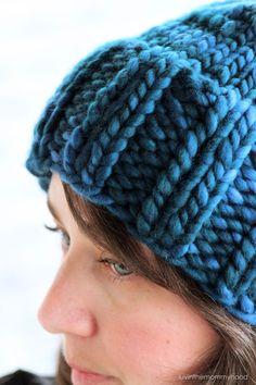 Hannah Hat Knitting Pattern Chunky Ribbed Bulky Pom Pom Slouchy | malabrigo Rasta in Azul Profundo