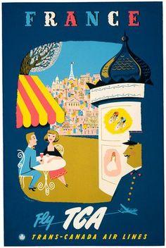 Vintage France Travel Poster.