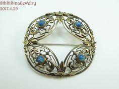 Estate Symmetallic WE Richards Sterling Silver 925 12K Gold Sodalite Pin Brooch #WERichardsSymmetalic
