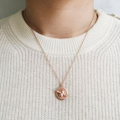 Moulded Bee & Coin Necklace Rose Gold