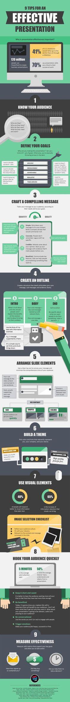 9 Tips for an Effective Presentation #infographic #Presentation #Sales #Career