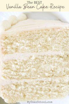 Vanilla Layer Cake Recipe, Vanilla Buttermilk Cake, Vanilla Bean Cakes, Cake Frosting Recipe, Frosting Recipes, Vanilla Bean Wedding Cake Recipe, Vanilla Bean Frosting, Wilton Wedding Cake Recipe, Baba Cake Recipe