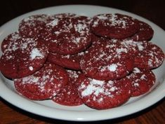 Red Velvet Cookies. These are so good! We also like to make a batch with chocolate chips and walnuts. You can use this recipe with any cake mix. We use 6 tablespoons of butter instead of oil.