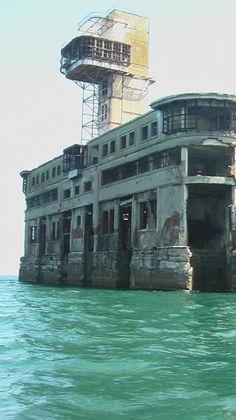 Test Station of Naval Armament in Makhachkala, Caspian Sea. This test station of naval armament in Makhachkala, Dagestan, was put into operation back in 1939. It stands 2,7 kilometres away from the shore and has not been in use for a long time. Each new day it's  ruined by merciless waves of the Caspian Sea.