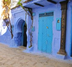 Chefchaouen in Morocco - this is a blue village up north between Tangier and Fez.