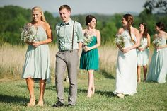 MOH and maids follow groom & family to conclude processional   #unconventionalprocessional #bridesmaiddress #mismatcheddress #mismatchedbridesmaid #mint #teal #turquoise #aqua #peacock #rusticromance #barnwedding #outdoorwedding   photos by April Bennett Photography @April Bennett Photography