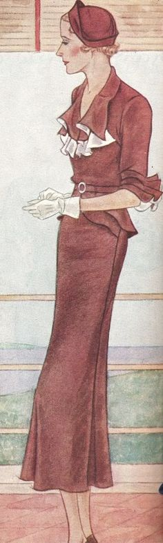 "More from McCalls Magazine, June 1934. The ""Lady of Fashion - Summer Style, slim, straight, sheer with crisp touches of white."" No. 7827. La..."