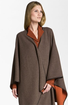 Lafayette 148 New York Leather Trim Cape | Nordstrom