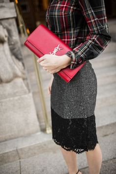tweed pencil skirt and plaid button-up shirt