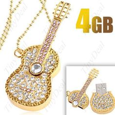 Microware New Designer Fancy Golden Metal Guitar Shape