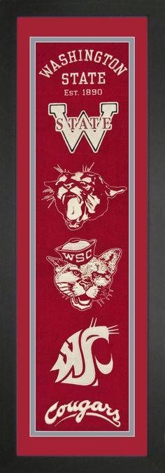 Washington State College NCAA Heritage Banner Framed