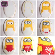 Minion cookie decorating tutorial, step by step tutorial cookie minion decorate, how to decorate with icing minion