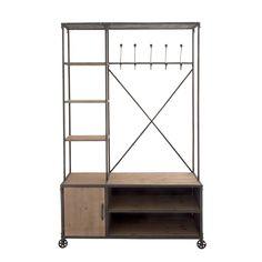 Woodland Imports Multipurpose Metal Wood Hall Cabinet