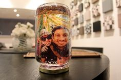 This is a very easy snow globe you can make at home using family photos, magazine pictures, or any other images. Makes a great Christmas decoration or gift. #DIY