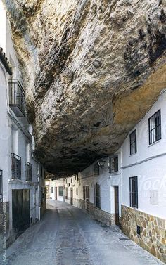Setenil's unique and extreme urban beauty make it one of the main tourist destinations in the Sierra de Cádiz, Andalusia, Spain People living under rocks! is part of Spain travel - Places Around The World, Around The Worlds, Beautiful World, Beautiful Places, Places To Travel, Places To Visit, Spanish Towns, Unusual Homes, Stairway To Heaven