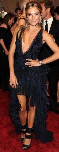 Who made Sienna Miller's blue dress that she wore to the 2010 Met Costume Institute Gala on May 3, 2010?