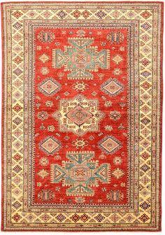 Red Geometric Kazak Area Rug