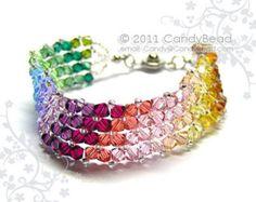Pulsera arco iris; pulseras de cristal; Pulsera de Swarovski; Pulsera de cristal; Pulseras de cristal Swarovski simplemente dulce arco iris