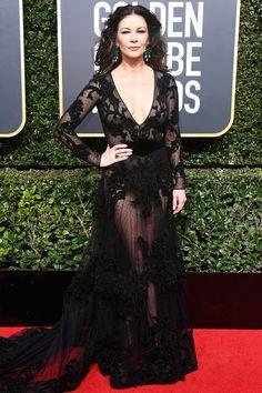 All the Glamorous 2018 Golden Globes Red Carpet Arrivals - Catherine Zeta-Jones from InStyle.com