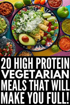 20 High Protein Vegetarian Meals Looking for simple easy healthy low carb vegetarian recipes that are high in protein to keep you feeling full for longer These clean eat. Clean Eating Vegetarian, High Protein Vegetarian Recipes, Vegetarian Recipes Dinner, Clean Eating Recipes, Healthy Recipes, Vegetarian Italian, Protein For Vegetarians, High Protein Vegetarian Breakfast, High Protein Lunch Ideas