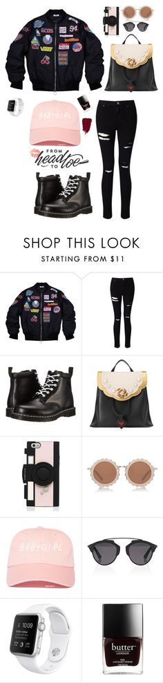 """""""black"""" by artemisyuri on Polyvore featuring Miss Selfridge, Dr. Martens, Gucci, Kate Spade, House of Holland and Christian Dior"""