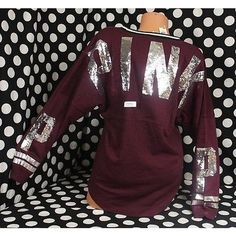 Pre-owned Victorias Secret Lpinkbling Sequin Maroon Varsity Crew... ($143) ❤ liked on Polyvore featuring tops, red, victoria's secret, red sequin top, purple top, crew top and purple sequin top