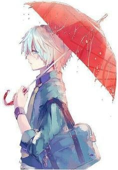 Anime boy, blue eyes, white hair, umbrella, raining, sad; Anime Guys
