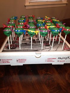 Teenage Mutant Ninja Turtle cake pops! By Blakers dozen  I have a Granddaughter that would love these for her Birthday