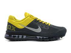 Nike Air Max 2013 Chaussures Nike Pas Cher Homme Anthracite/argenté réfléchissant/sonic jaune 554886-006